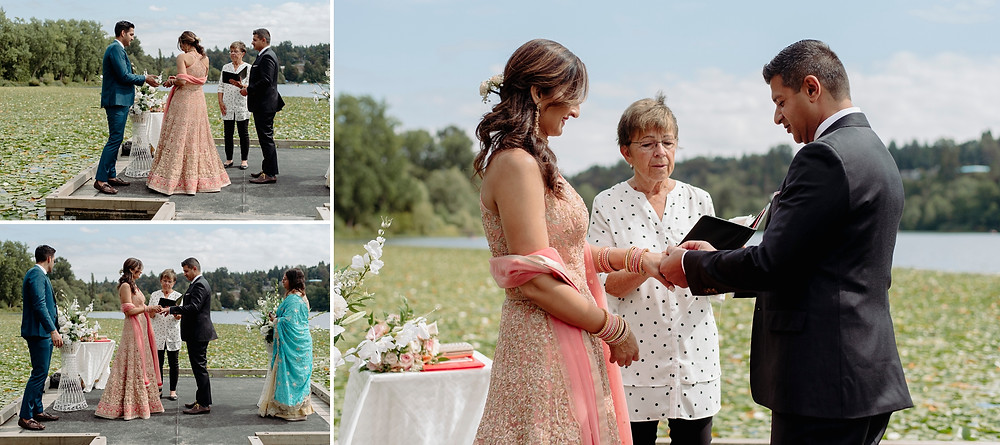 rings get exchanged during elopement ceremony by the lake in vancouver