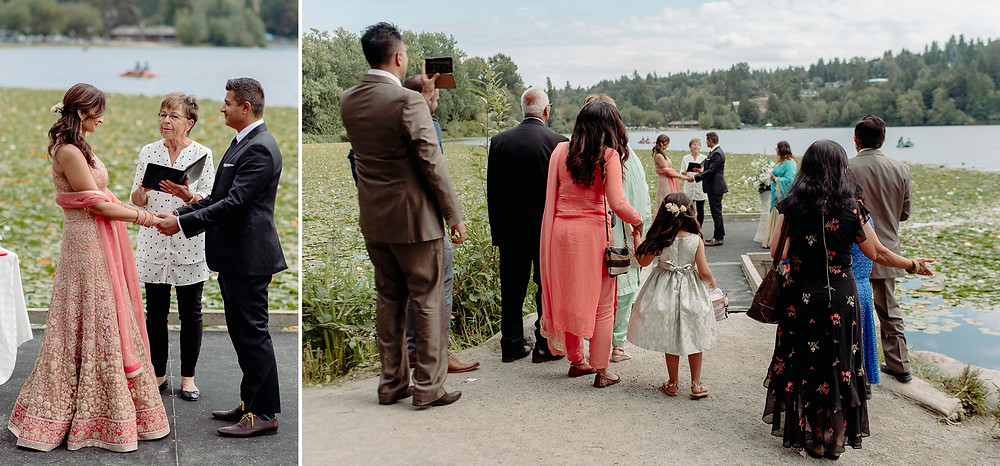 intimate wedding beside lake with immediate family