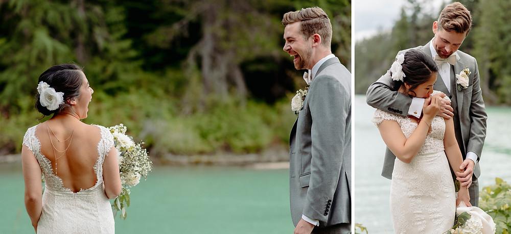 bride groom first look green lake whistler