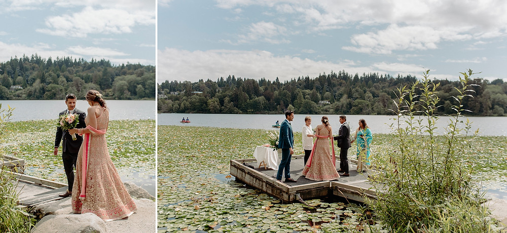 groom walks bride down natural aisle onto dock for lakeside elopement