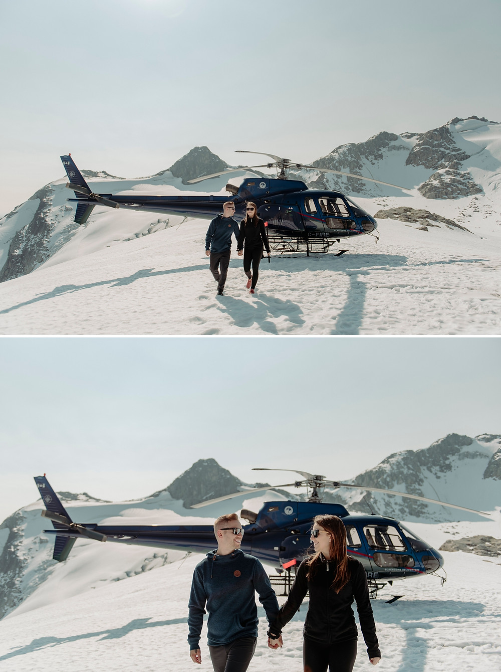 Newly engaged couple enjoy the sites from the top of Whistler mountain after helicopter proposal tour