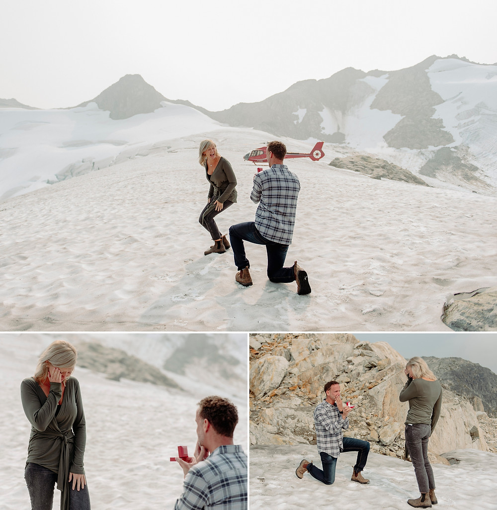 Mountain top couple expresses excitement with tearful acceptance during Whistler proposal photography with Blackcomb Helicopters