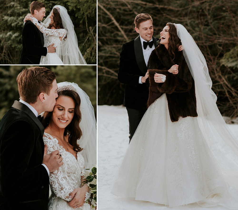 Winter Whistler wedding couple stays warm with cuddles and long sleeve wedding dress