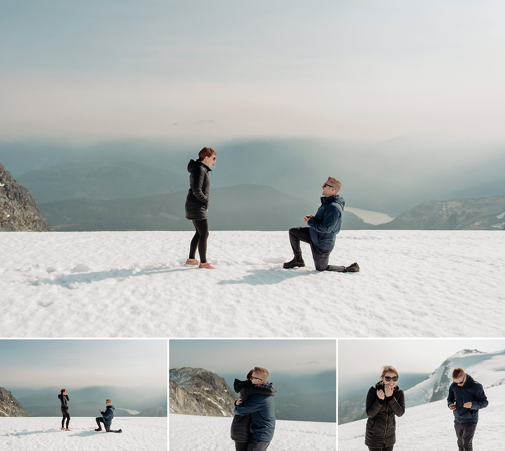 Excited couple during sunny helicopter proposal photography on Whistler's Rainbow Glacier