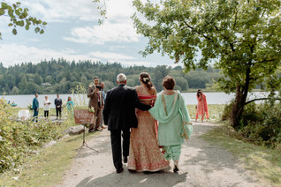 mother-father-walk-bride-down-aisle-whistler-lakeside-elopement