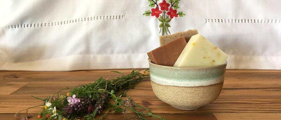 Ceramic Bowl with 3 Natural Soaps