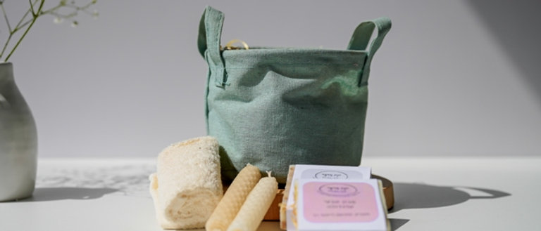 Candles and Soaps in a Fabric Basket