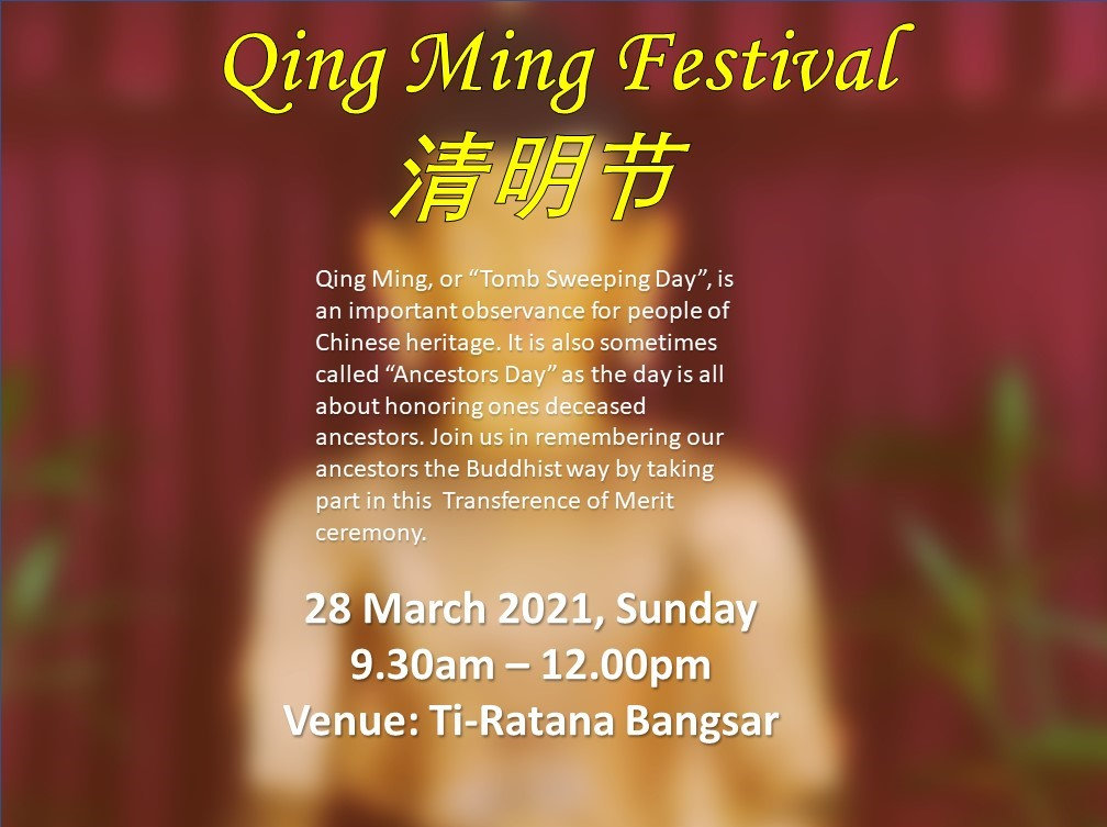 Our upcoming event. Qing Ming Festival Celebration.