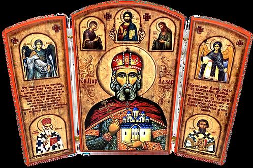 Triptych: Holy Prince Lazar the Great Martyr/ Sveti Knez Lazar, small icons