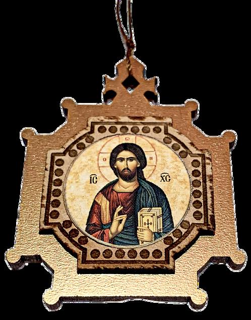 Christ Pantocrator/Hristos Svedrzitelj, Wooden Pendant