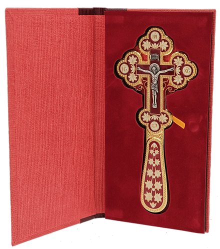 """Gold-plated Blessing Cross with Red Enamel 6 1/2"""""""