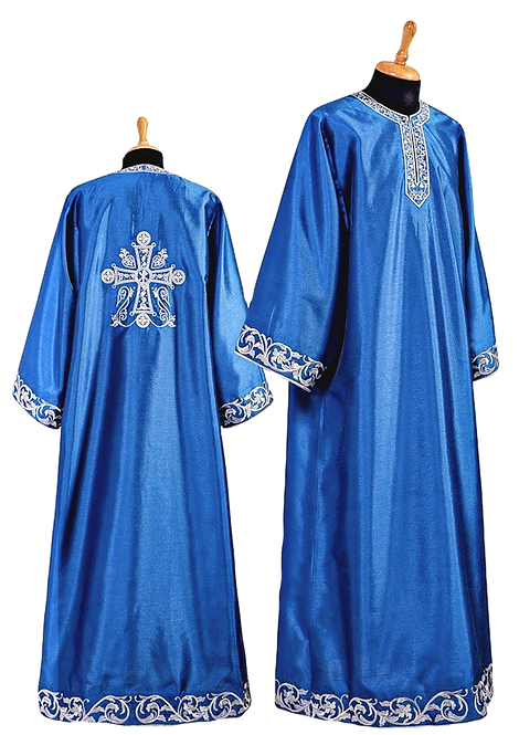 Dechani Altar Servers Tunics – Blue with Silver Embroidery (14 pieces)