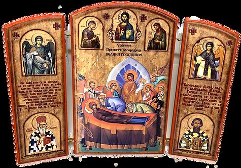 Triptych: Dormition of the Theotokos / Uspenije Presvete Bogorodice, small icons