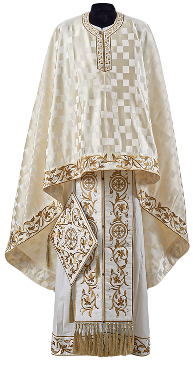 Dechani Polystavrion Priest Ready to Wear Vestment - Ivory with Gold Embroidery