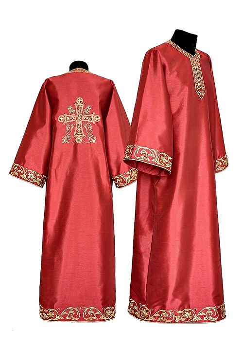 Dechani Altar Servers Tunics - Burgundy with Gold Embroidery (14 pieces)