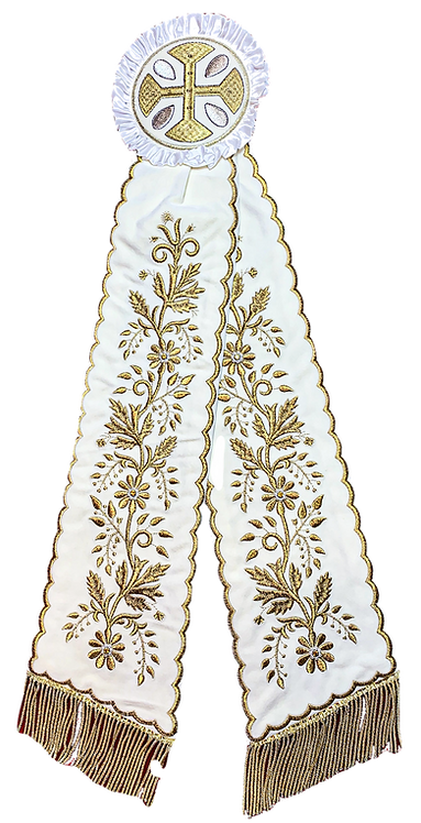 Remeta Ribbons – Ivory with Gold Embroidery