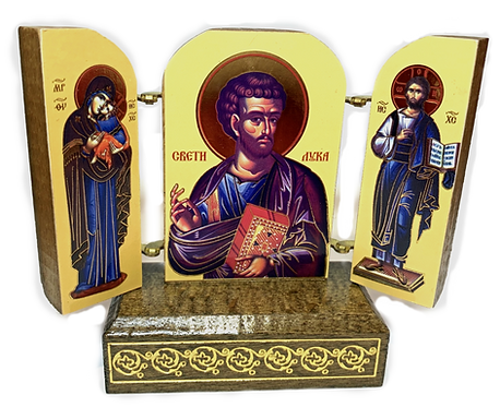 Triptych with stand: St. Luke the Apostle and Evangelist, small icons