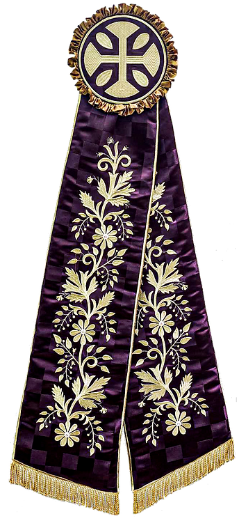 Ribbons - Purple with Gold Embroidery
