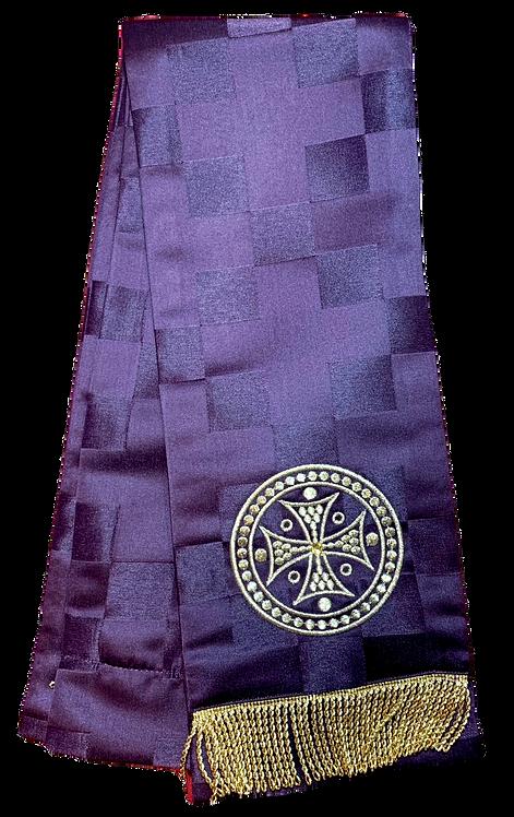 Dechani Gospel Ribbon - Burgundy with Gold Embroidery