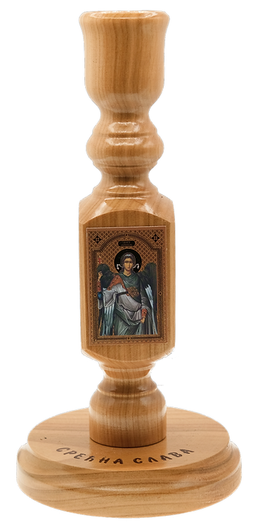 Large Wooden Maple Candle Holder with icon (Holy Archangel Michael)