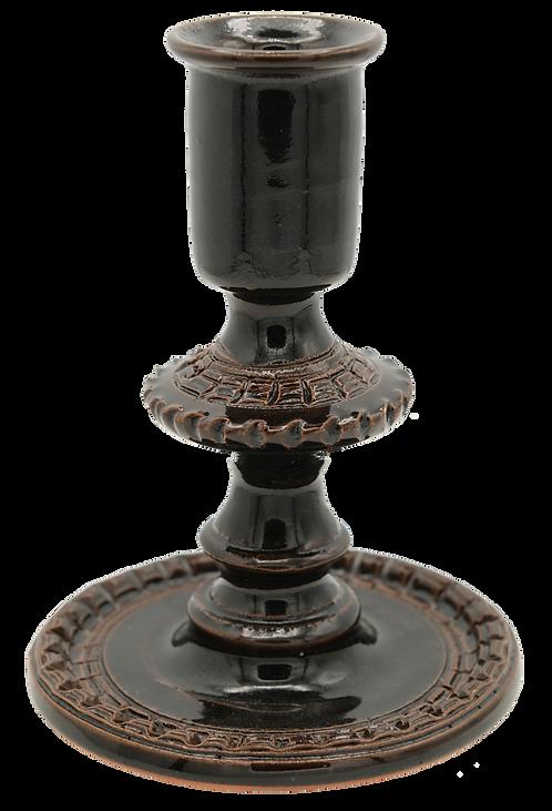 """6"""" Glazed Ceramic Candle Holder (Brown)"""