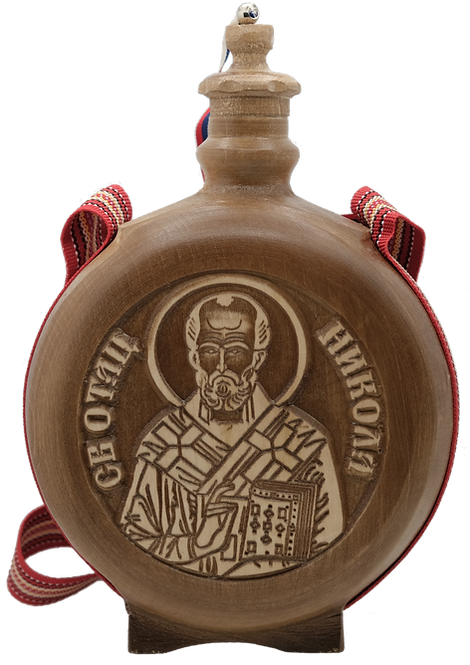 Hand Crafted Wooden Flask with Icon (St. Nicholas)