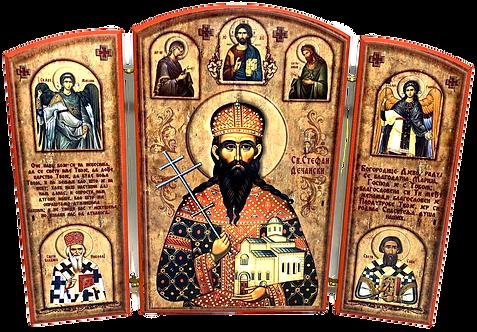 Triptych: St. Stephen of Dechani / Sveti kralj Stefan Decanski, small icons