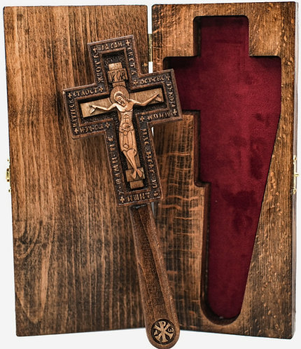 """Hand-Carved Wooden Blessing Cross 8 1/2"""""""