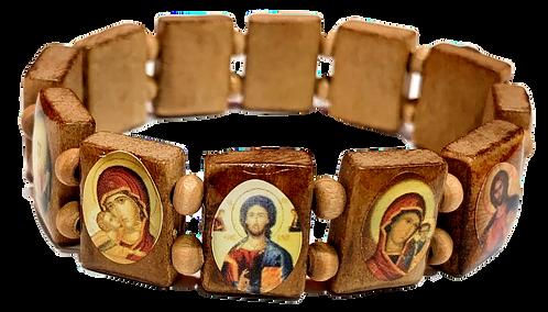 Icon Bracelet with Wood Beads (Style II)