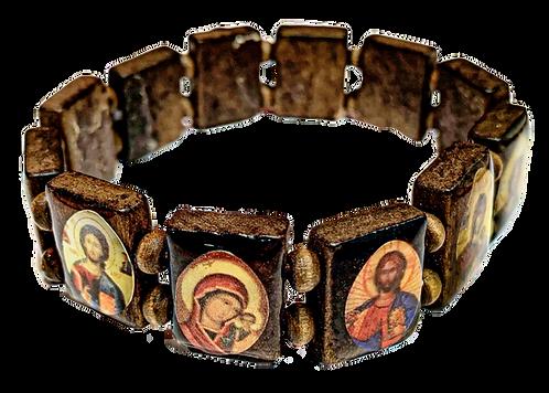 Icon Bracelet with Wood Beads (Style I)