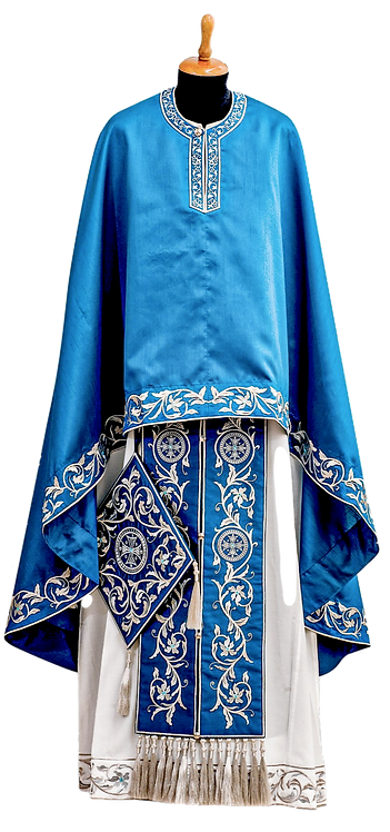 Dechani Priest Ready to Wear Vestment - Blue with Silver Embroidery – Size 135