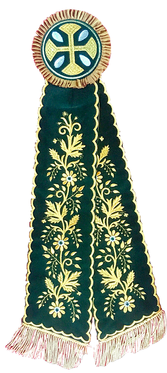 Remeta Ribbons – Emerald with Gold Embroidery