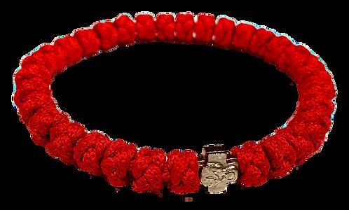 Red Prayer Bracelet, with silver tone cross