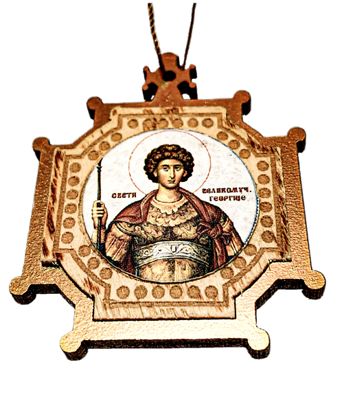 Holy Great Martyr George the Trophy-Bearer, Wooden Pendant