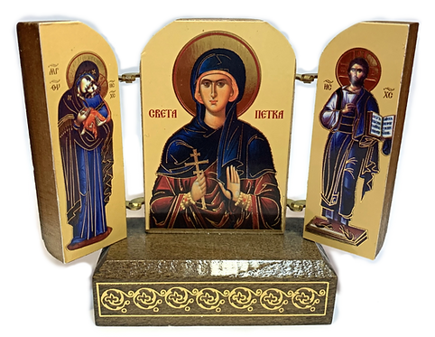 Triptych with stand: St. Petka / Sveta Petka, small icons