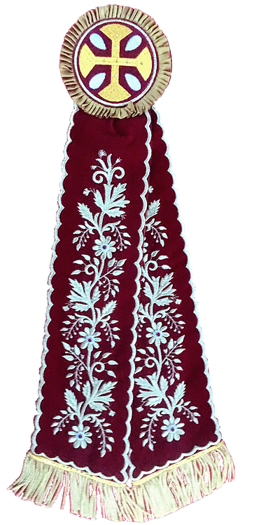 Remeta Ribbons – Burgundy with Gold Embroidery