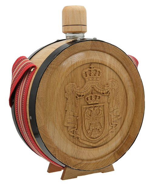 Wooden Flask with Coat of Arms of Serbia