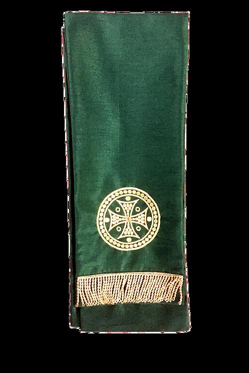 Dechani Gospel Ribbon – Emerald with Gold Embroidery