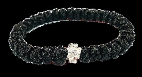 Black Prayer Bracelet, with silver tone cross
