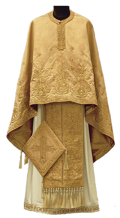 Kerkyra Priest Ready to Wear Vestment - Gold with Gold Embroidery – Size 130