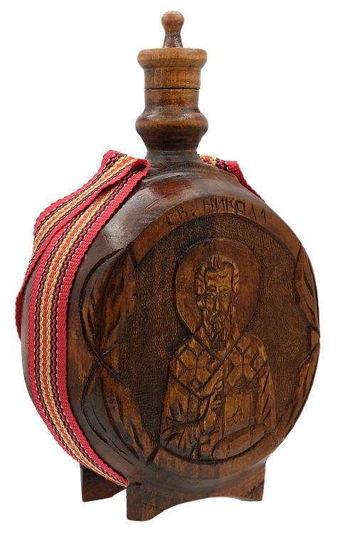 Hand Carved Wooden Flask with Icon (St. Nicholas)