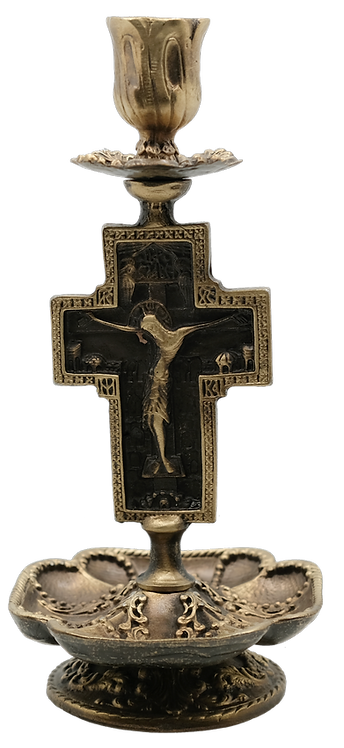 Two-Toned Metal Candle Holder with Crucifixion & Lord's Prayer