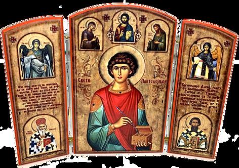 Triptych: St. Panteleimon / Sveti Pantelejmon, small icons