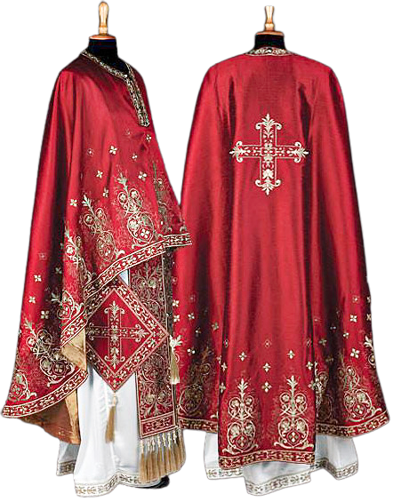 Kerkyra Priest Ready to Wear Vestment - Burgundy with Gold Embroidery – Size 145