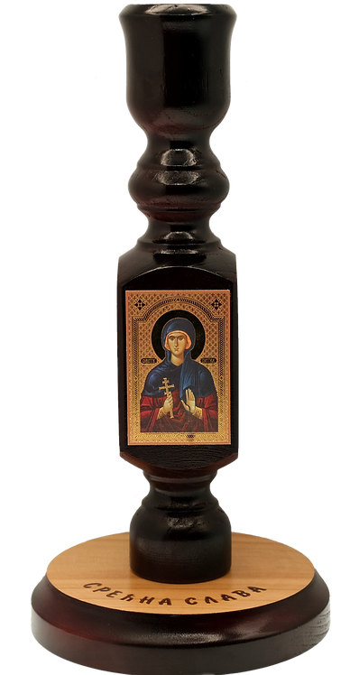 Large Wooden Mahogany Candle Holder with icon (St. Petka)