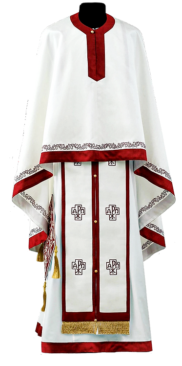 Sava Priest Ready to Wear Vestment - Ivory with Burgundy Embroidery – Size 140