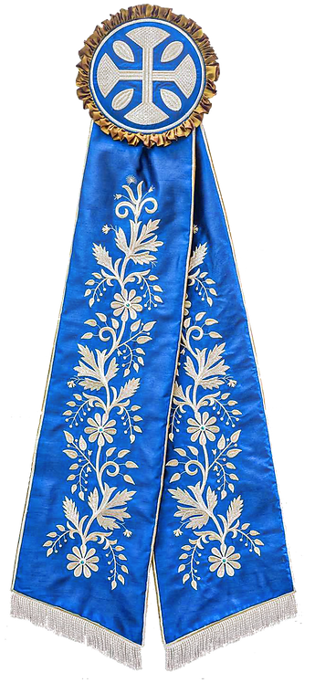 Remeta Ribbons - Blue with Silver Embroidery