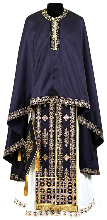 Crete Priest Ready to Wear Vestment - Purple with Gold & Purple Embroidery