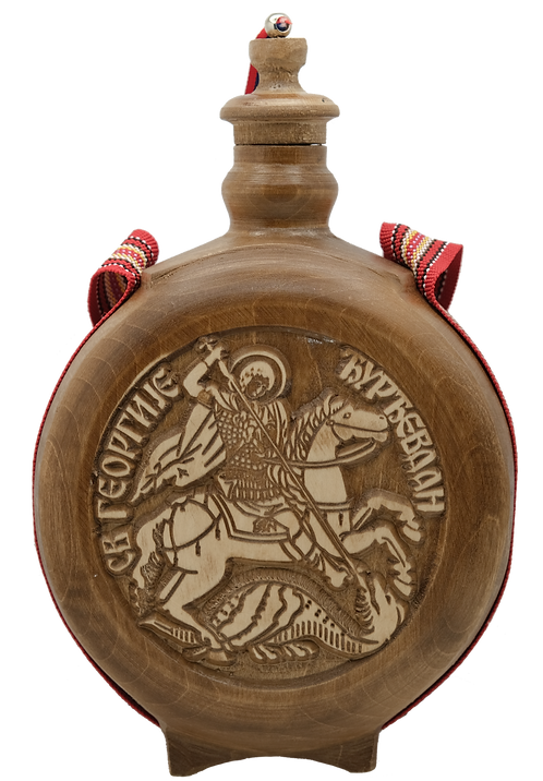 Hand Crafted Wooden Flask with Icon (St. George)