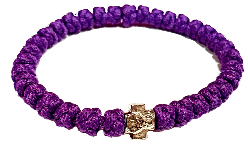 Purple Prayer Bracelet, with silver tone cross